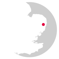 Overview map showing location of the Ipswich to Lowestoft Line