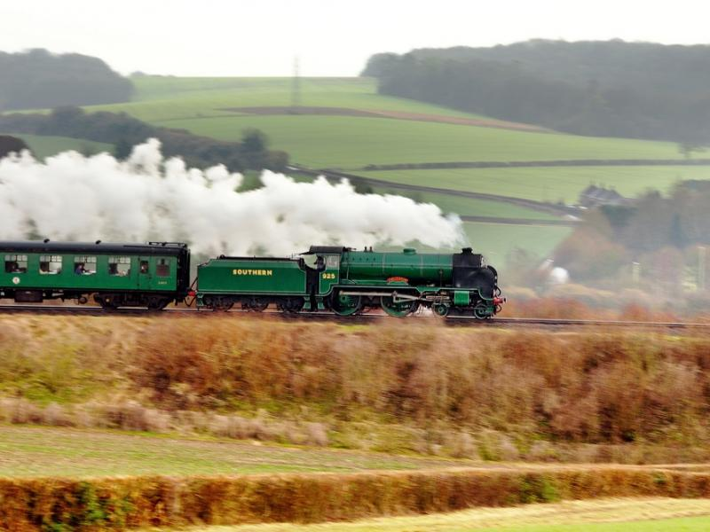 Train travelling across the Watercress Railway Mid Hants.
