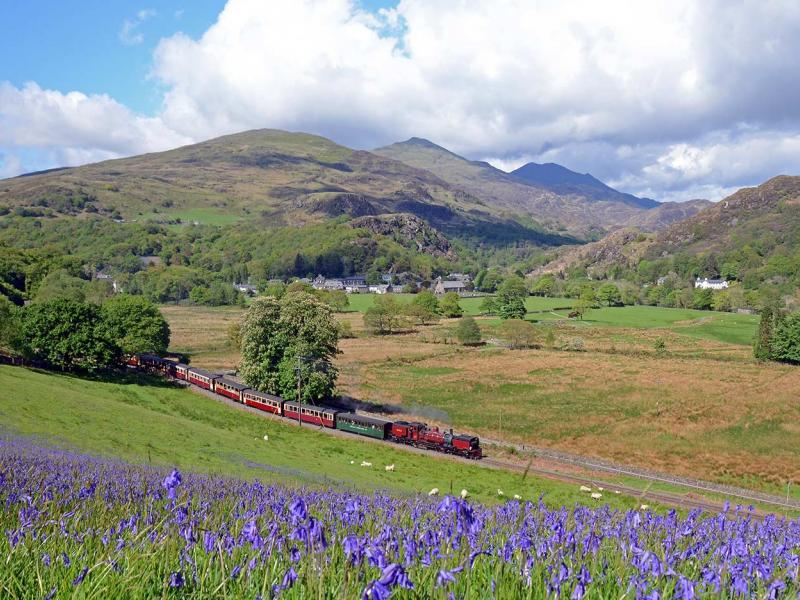 Scenic steam train travelling along the Welsh Highland Railway