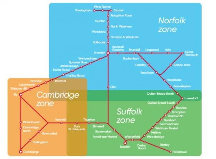 Greater Anglia - Anglia Plus map