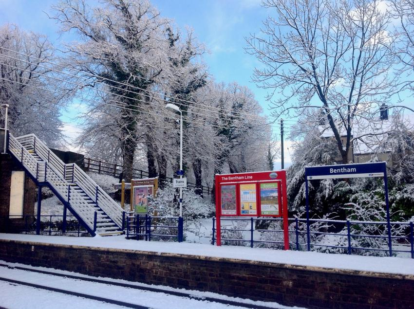 Bentham Station in winter