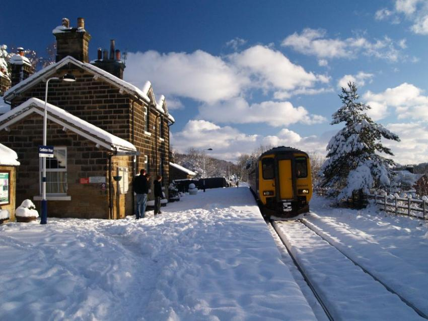 Esk Valley Train at a snowy station in the winter