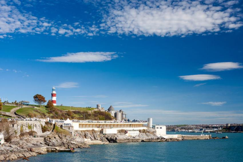 Plymouth Hoe, featuring the Smeaton's Tower lighthouse and the city's lido - photo licensed from Shutterstock