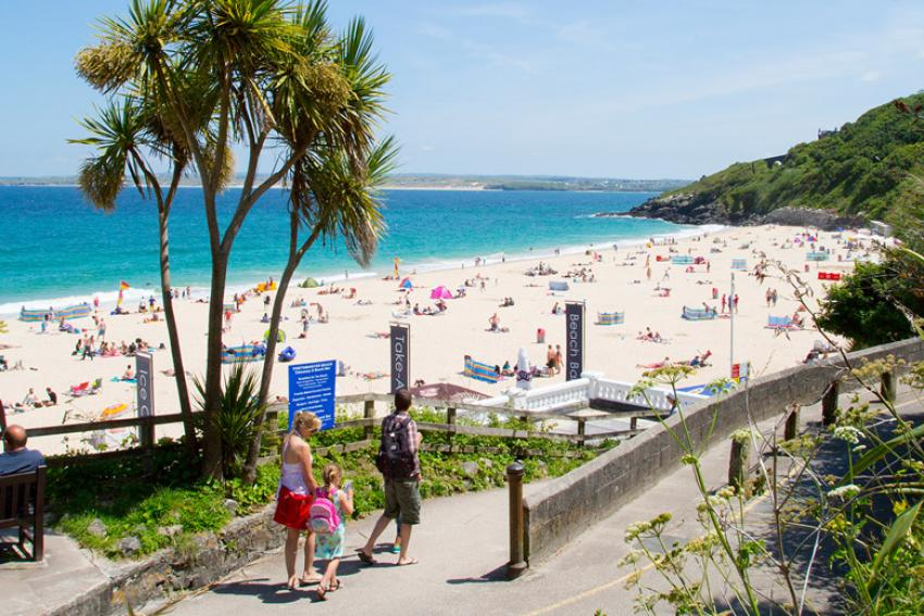 The short walk from St Ives railway station to Porthminster Beach