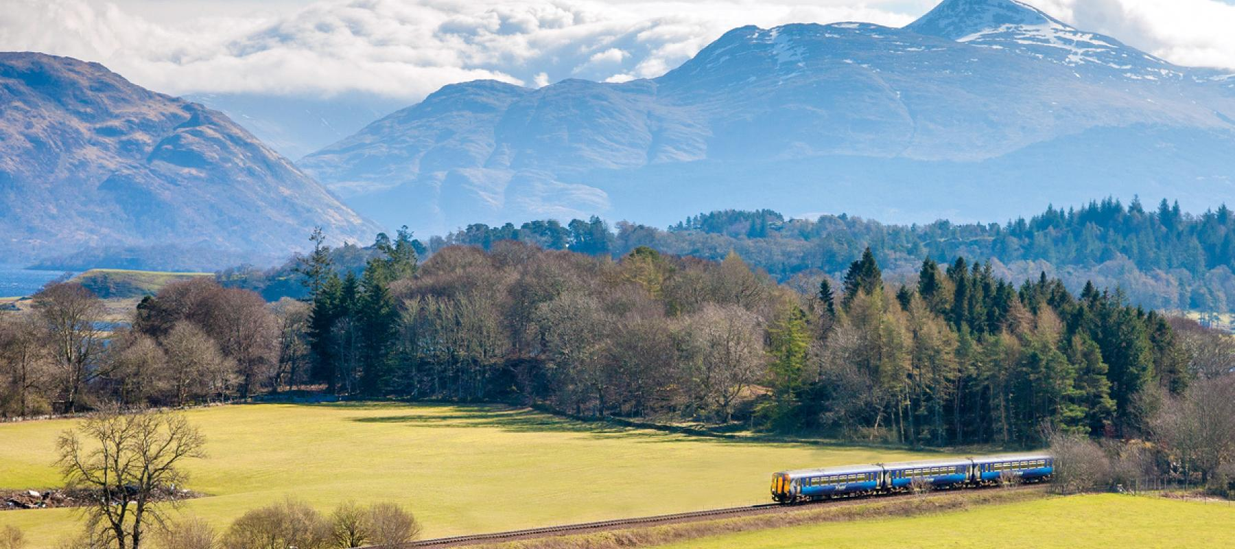A ScotRail train travels along the West Highland Line