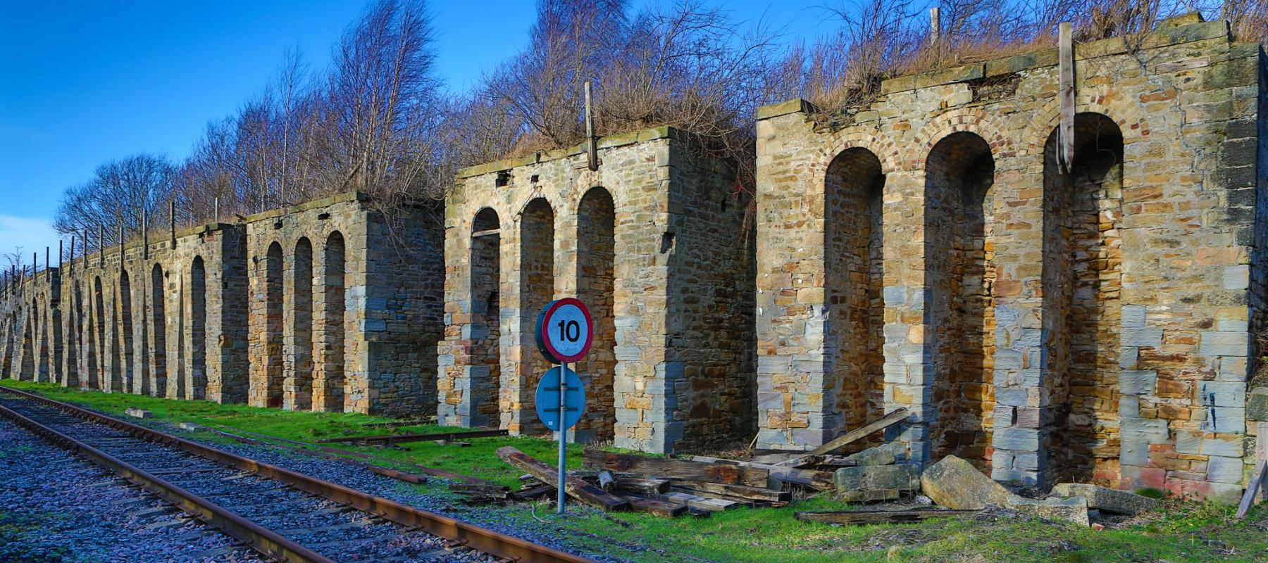 Stonework at the side of railway tracks along the Bishop Line, North East UK
