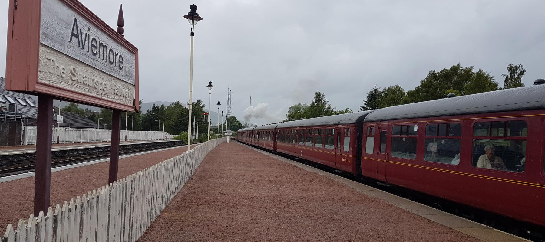 Strathspey Railway train departs Aviemore