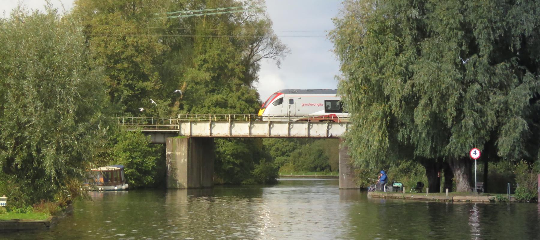 Greater Anglia train crossing the Bure at Wroxham