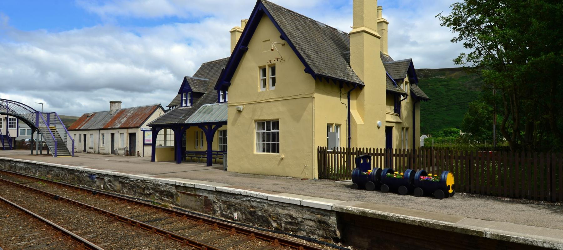A restored station building at Helmsdale, on the Far North line, Scotland