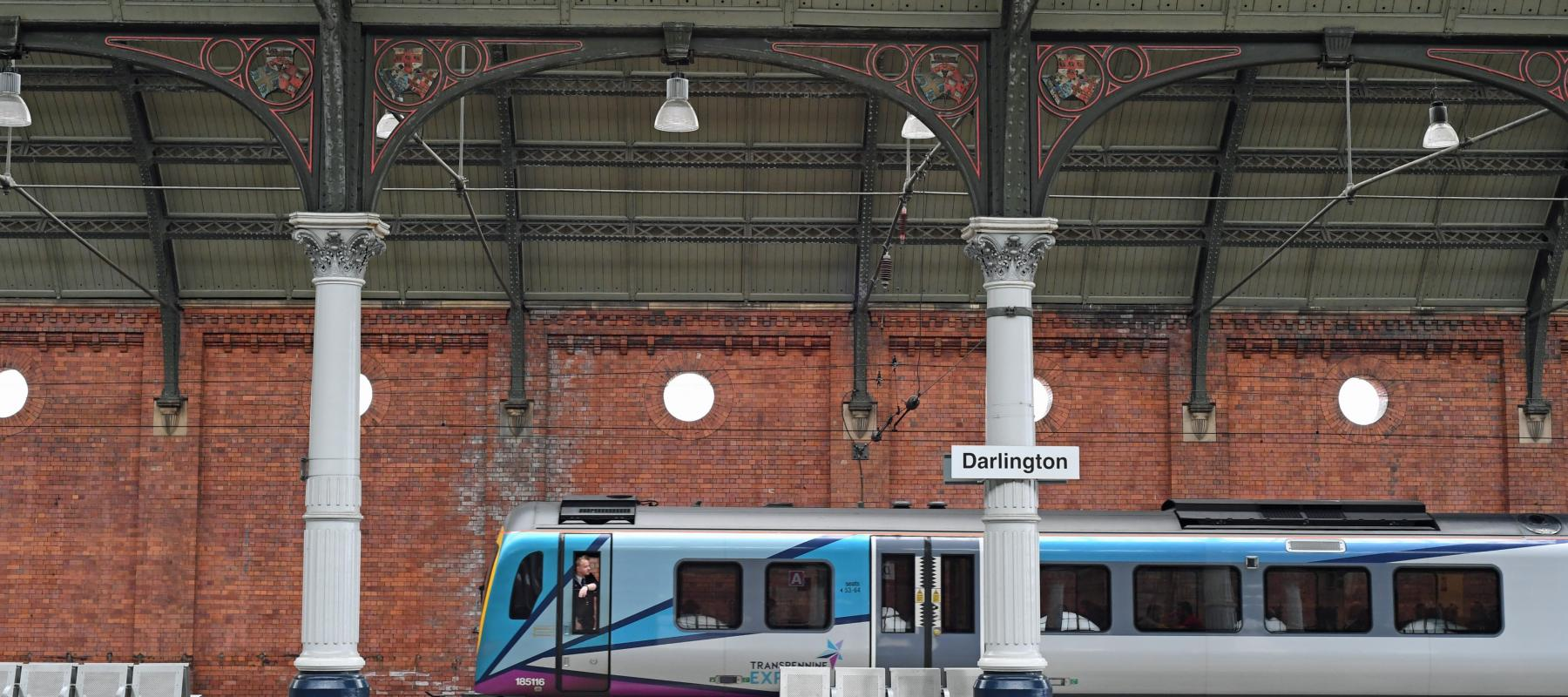 Darlington Railway Station with Trans Pennine Express train