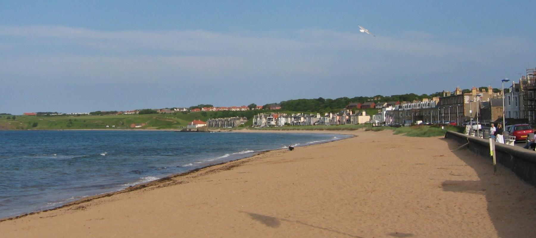 East Beach at North Berwick along the East Lothian Line