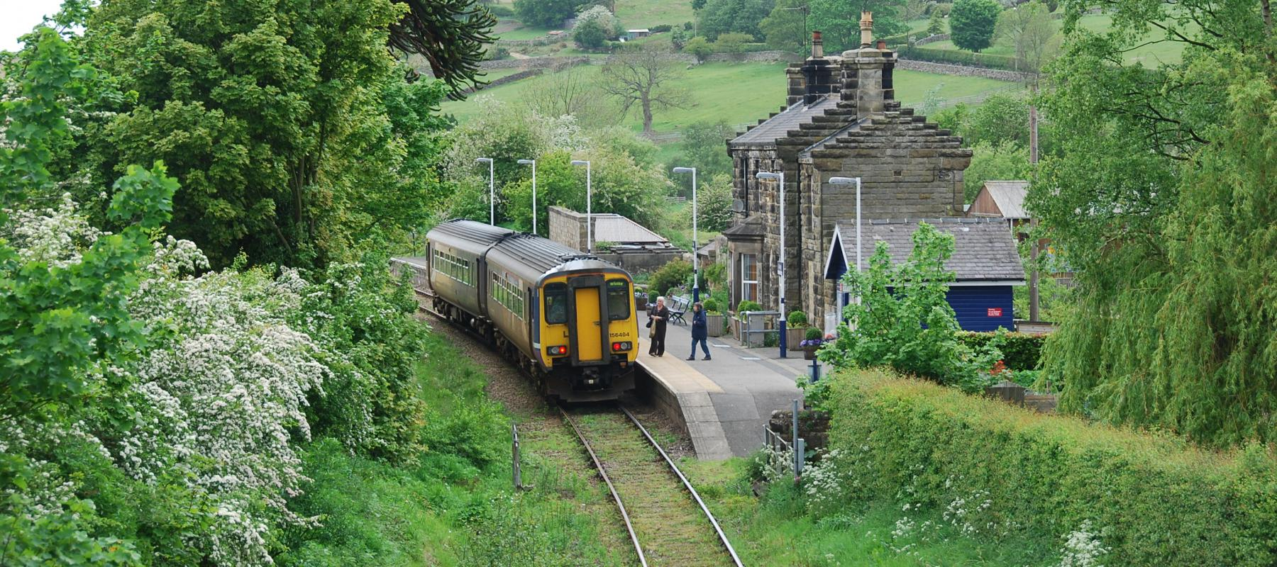 Train at Danby Station along the Esk Valley railway line. Yorkshire & North East UK