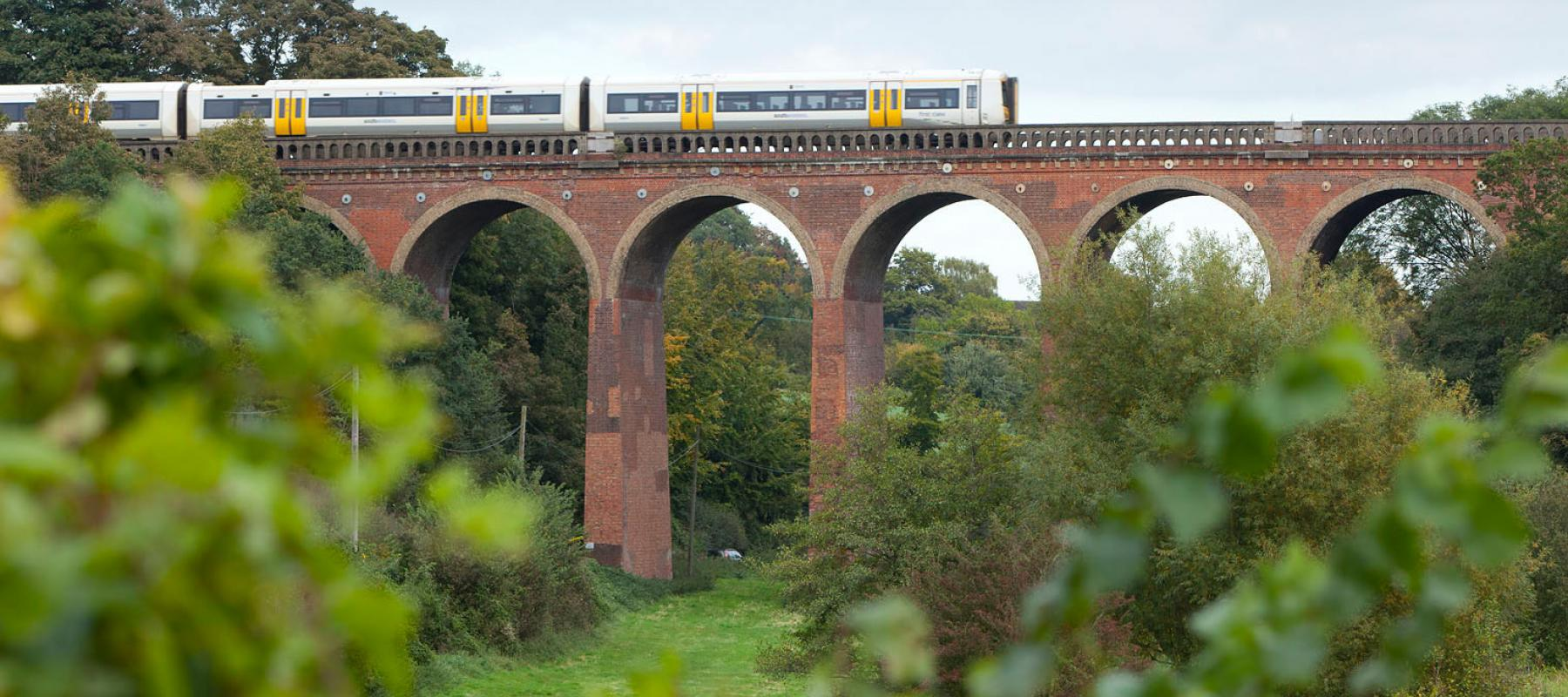 Darent Valley train crossing viaduct