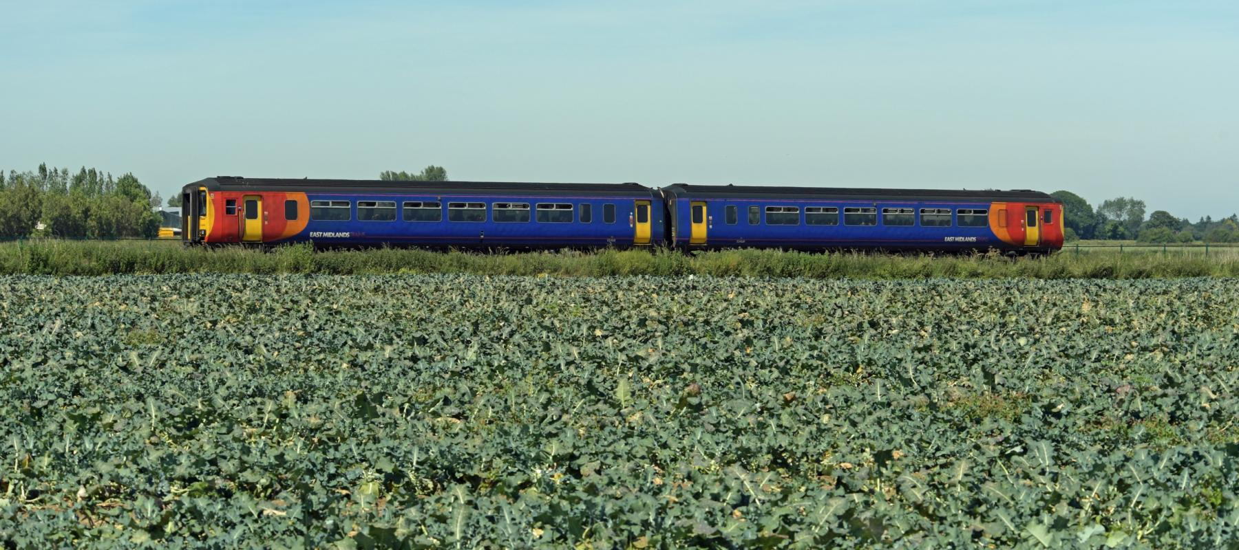 Train passing through farmland along the Poacher Line