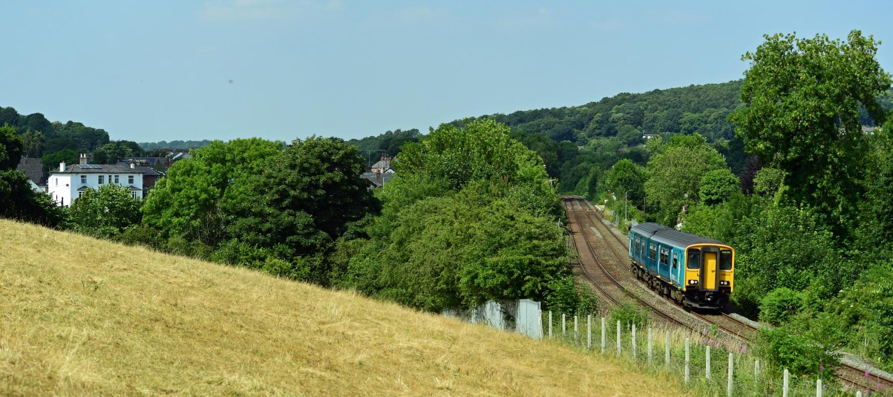 Train travelling along the Borderlands line