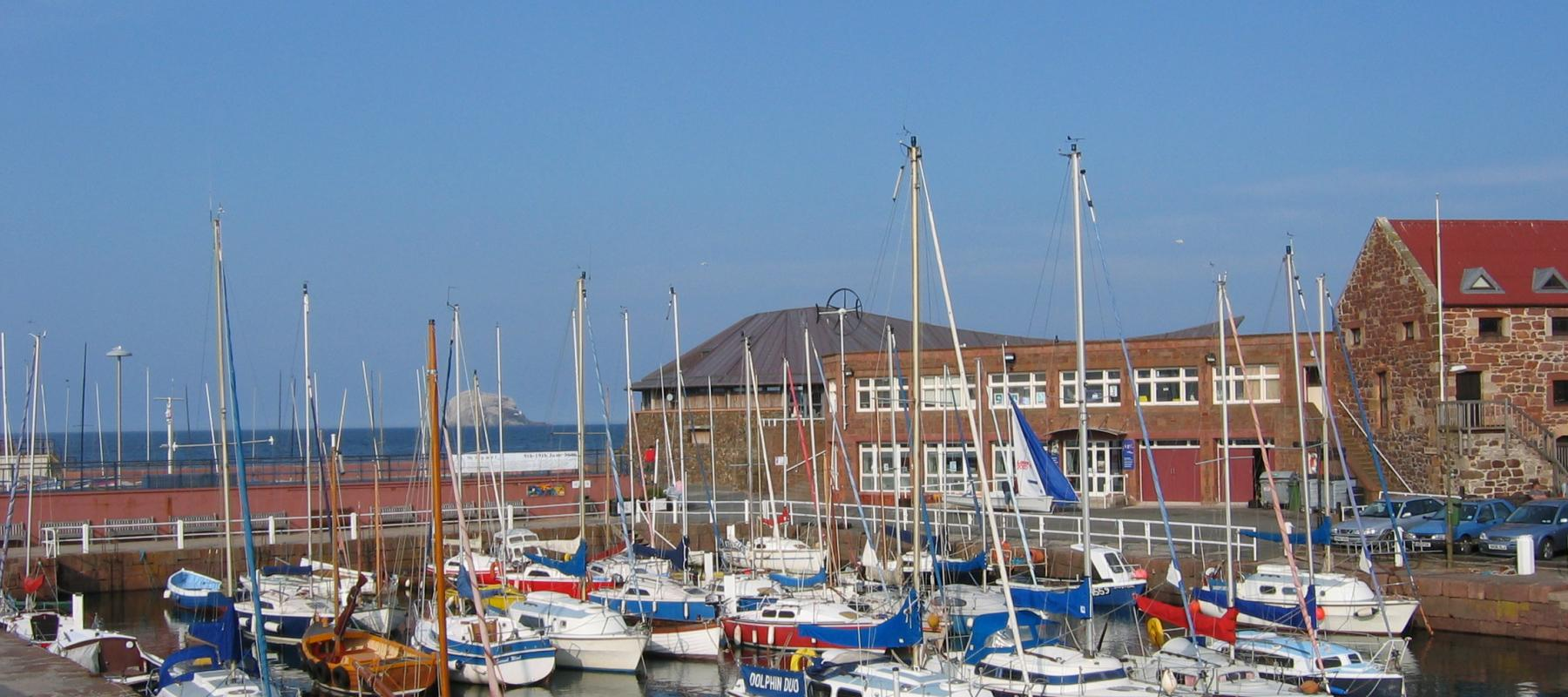 The bustling harbour at North Berwick, along the East Lothian Line, Scotland