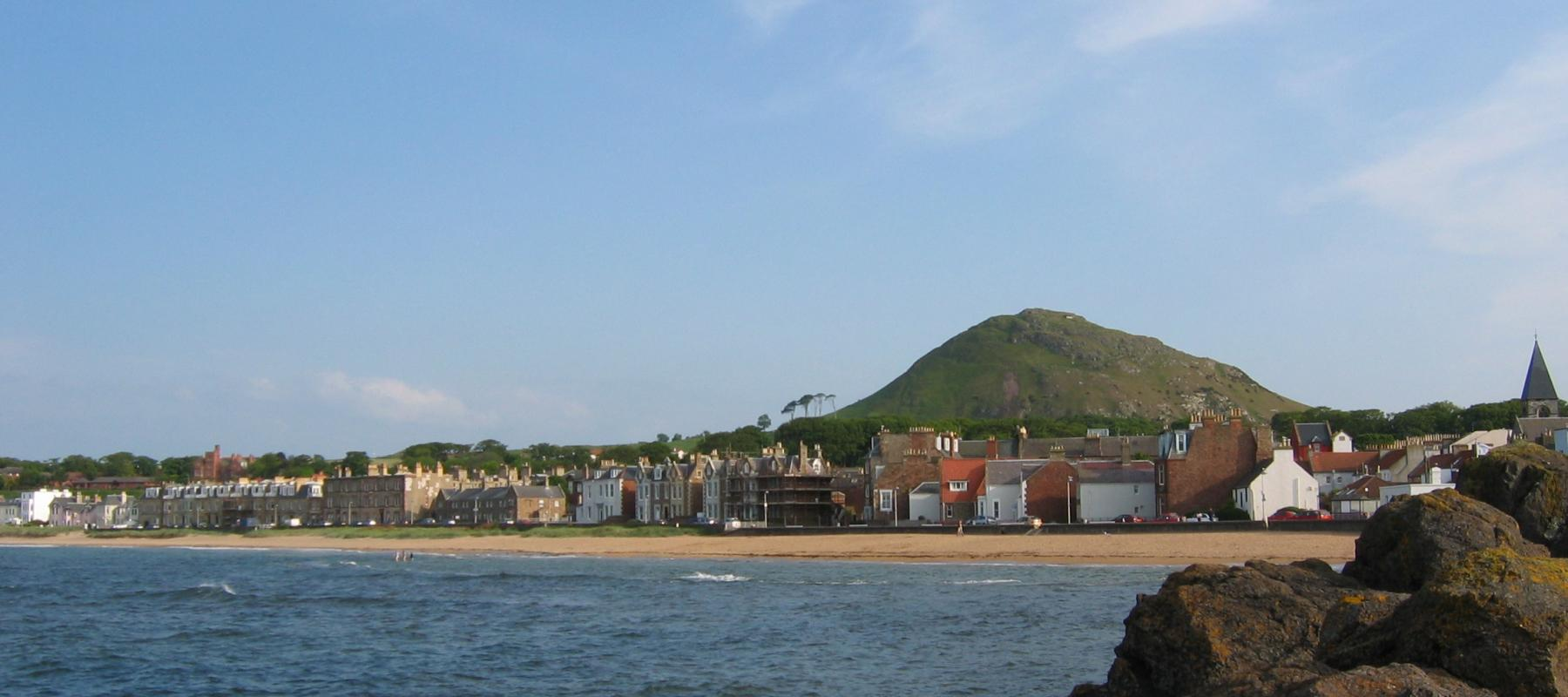 North Berwick Law along the East Lothian Line, Scotland