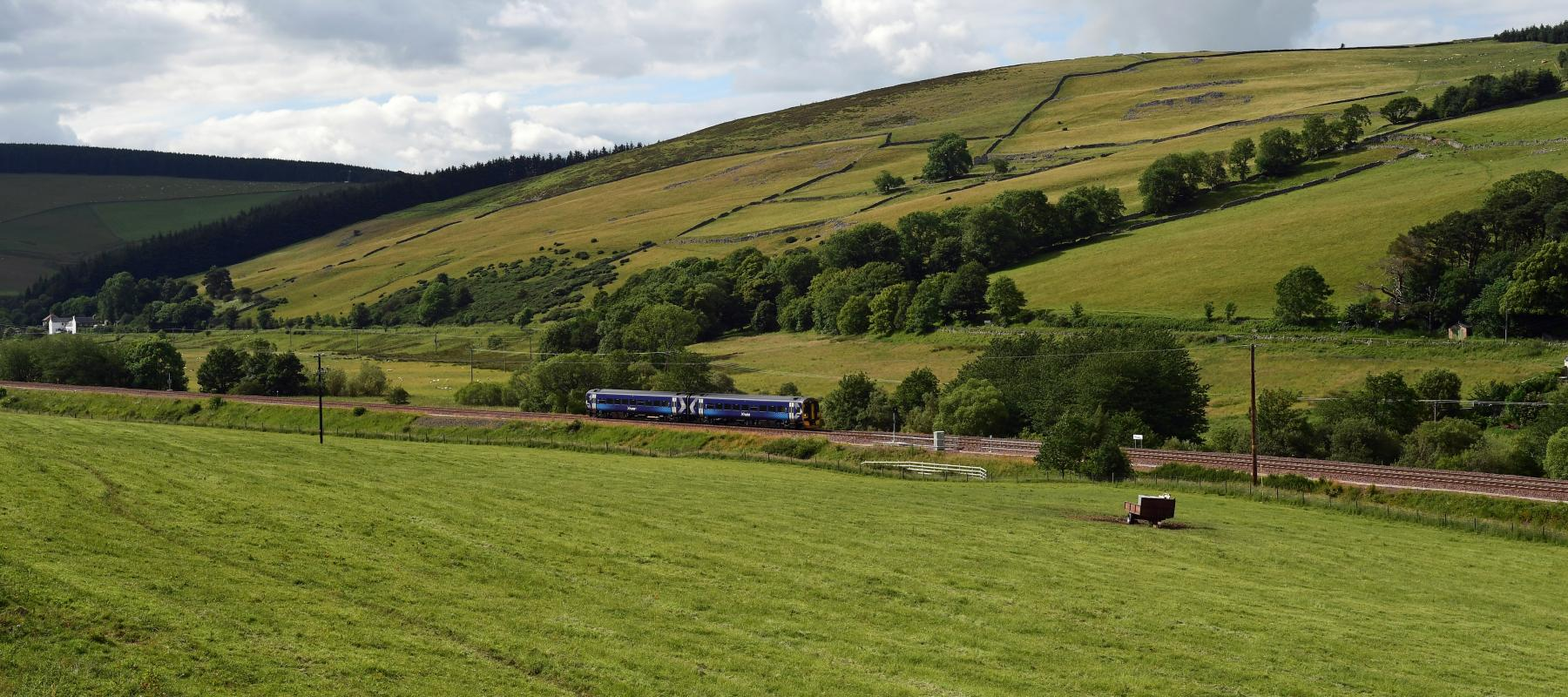 ScotRail Train travelling along the Borders Railway