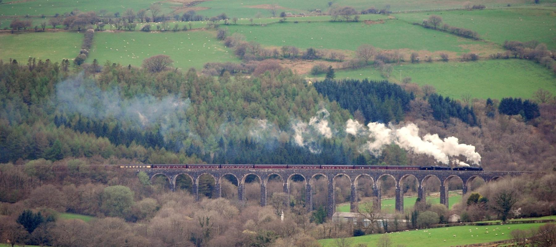 Steam train travelling along the Heart of Wales line