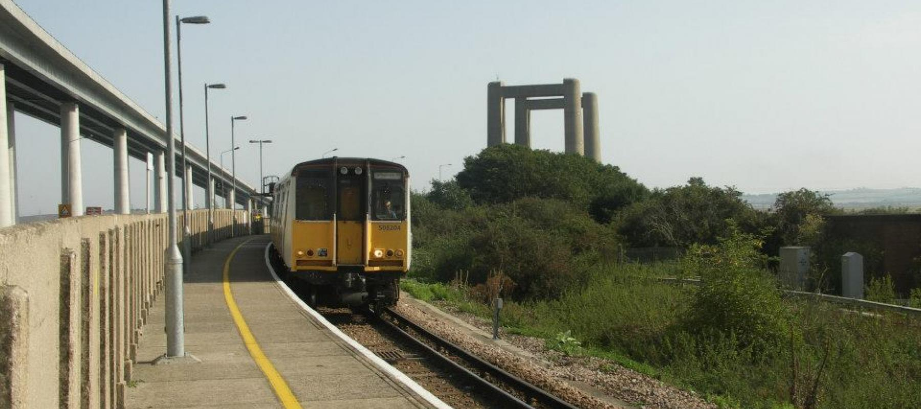 Swale Rail with Sheppey Crossing in background. South East UK.
