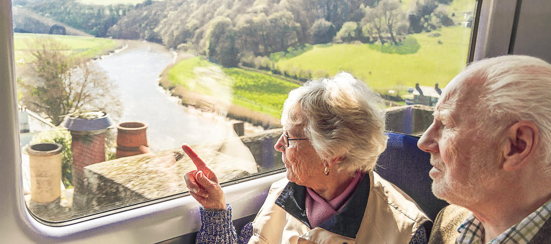 Older couple point at views from Calstock Viaduct on the Tamar Valley Line