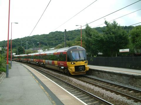 Skipton bound train arrives at Keighley Station along the Bentham Line.