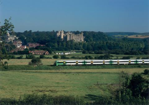 Arundel Castle as seen from the Arun Valley railway line