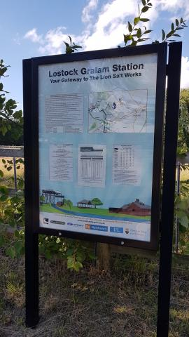 Lostock Gralam Railway Station Gateway to The Lion Salt Works Welcome Sign