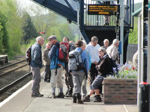 Ramblers ready to start their walk at Craven Arms Railway Station along the Heart of Wales Line