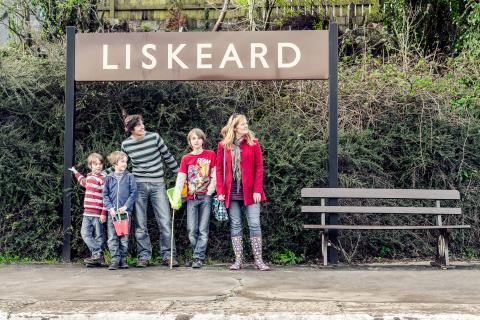 Family waiting for the train at Liskeard station