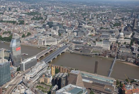 Aerial view of London Blackfriars station