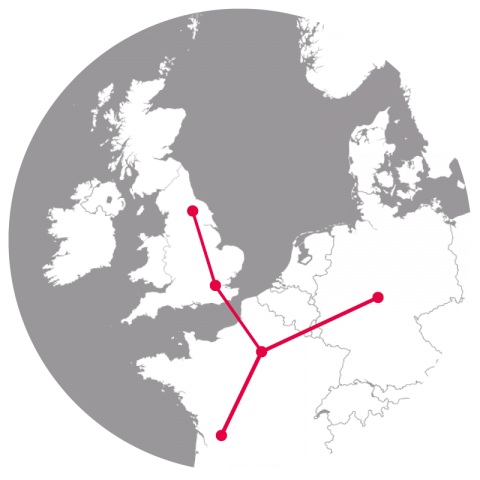 Map showing example train routes to the UK from Europe