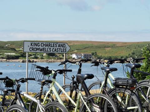 Bicylces on Tresco, Isles of Scilly