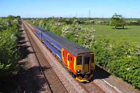 East Midlands Train passes though Beckingham bound for Lincoln along the Roman Line.
