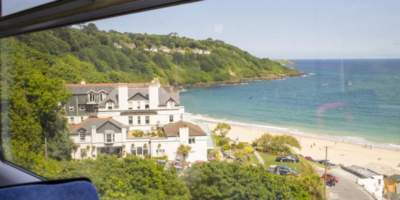 View from the train window on the St Ives Bay Line
