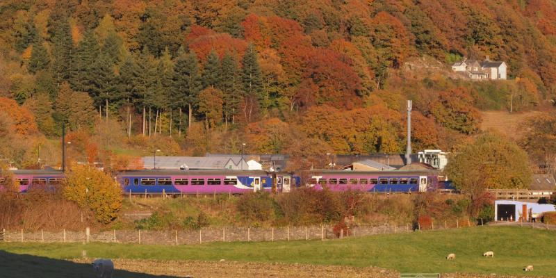Train traveling along the scenic Lakes Line. North West UK.