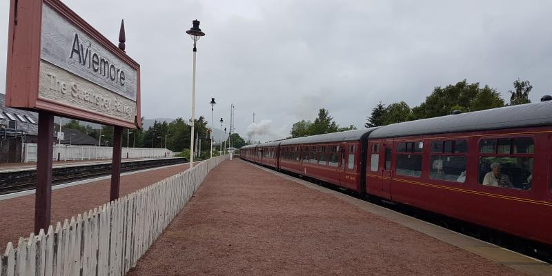 Strathspey Railway train departs Aviemore
