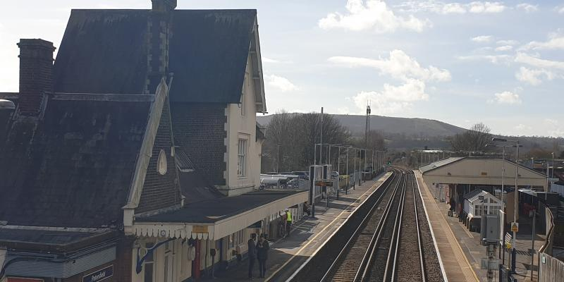 Looking at Petersfield Railway Station from the bridge