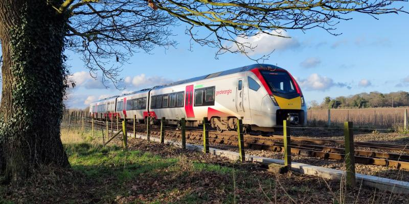 Greater Anglia train approaching Buckenham along the Wherry Lines