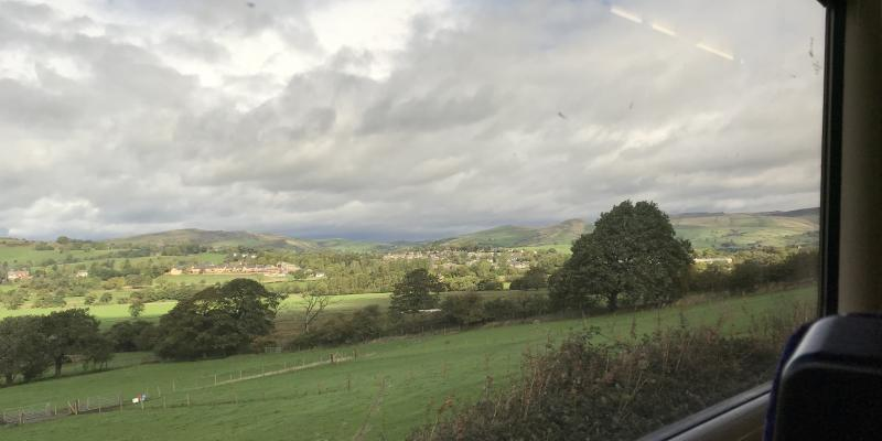 A view from the train window along the Buxton Line