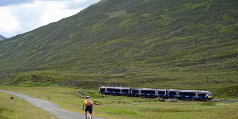 Scotrail Train travelling along the Highland Line, Scotland