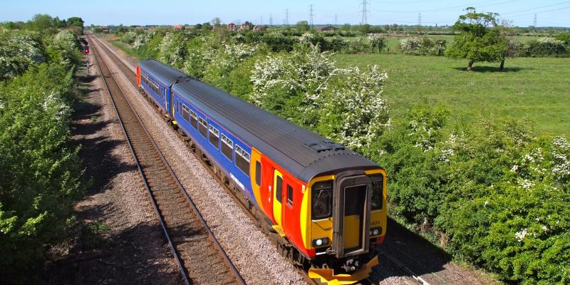 East Midlands Train passes though Beckingham bound for Lincoln along the Pilgrim Line.