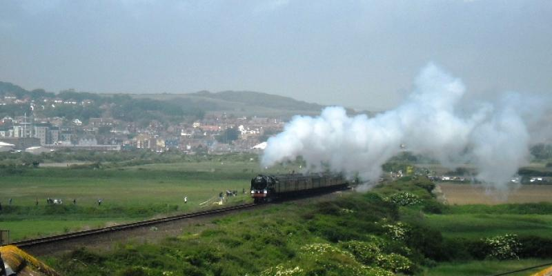 Oliver Cromwell steam engine approaching Seaford for 150th celebrations