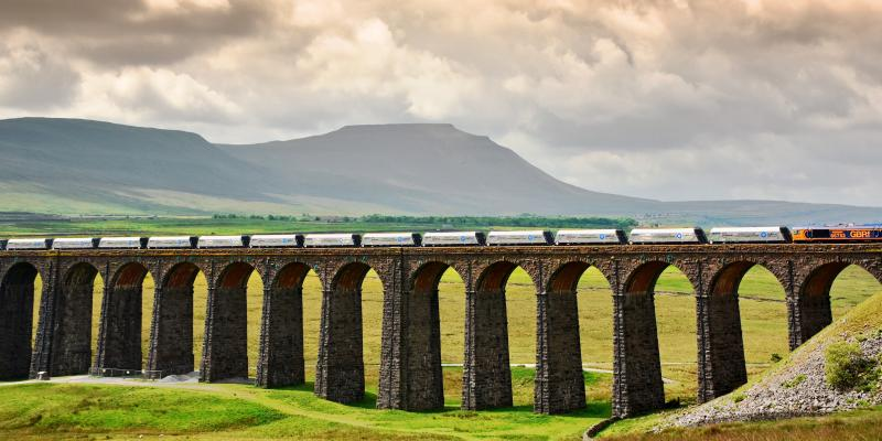 Frieght train passing the Ribblehead Viaduct. Photo: Mick Cardus