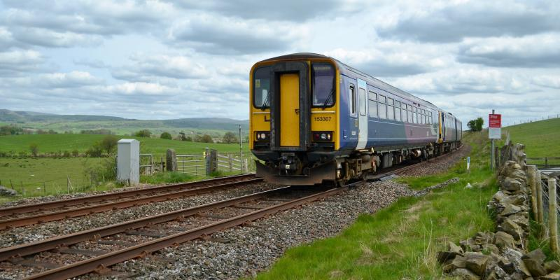 Train heading towards Morecambe along the Bentham Line