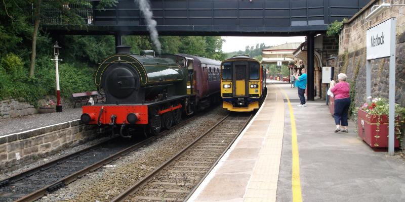 Peak Rail and Derwent Valley Line trains at Matlock Station