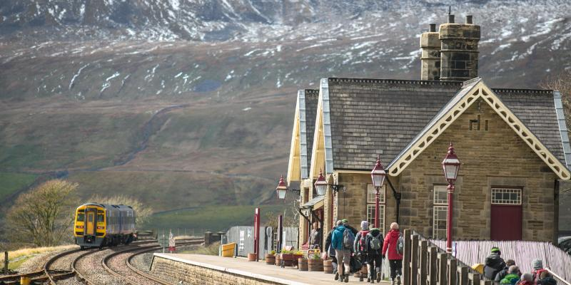 Walkers waiting for their train at Ribblehead Station. Photo taken by Stuart Petch