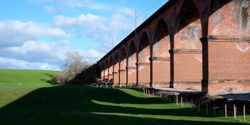 The Twemlow Viaduct along the Crewe to Manchester railway line. North West UK
