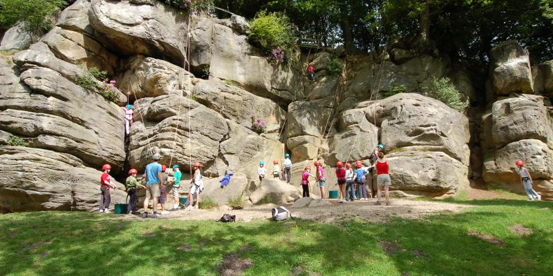 Bouldering climbing at Bowles Rocks near Eridge and Crowborough
