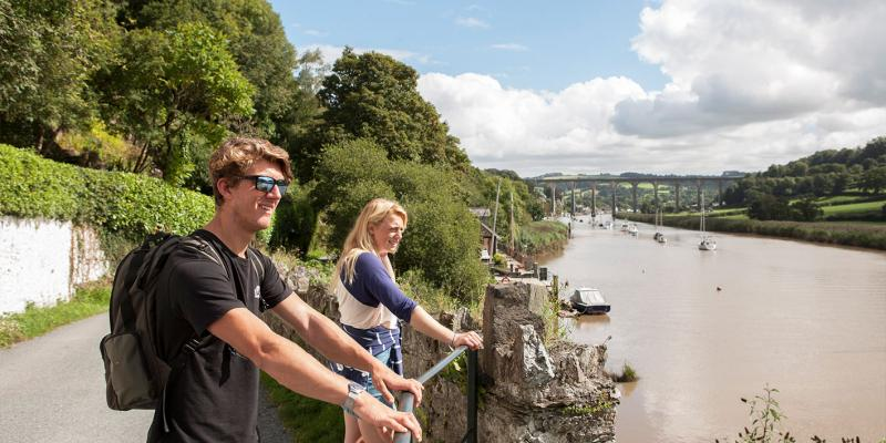 Young couple on walk from Calstock station